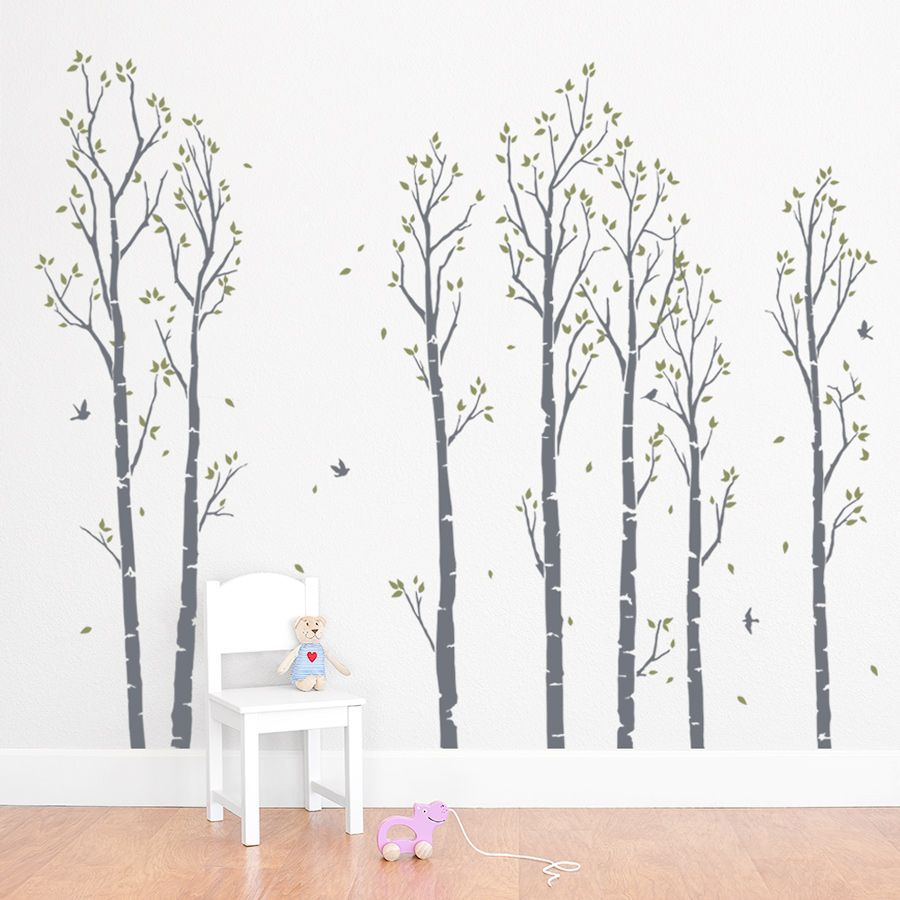 young birch forest wall decal with images forest wall on wall decals id=63587