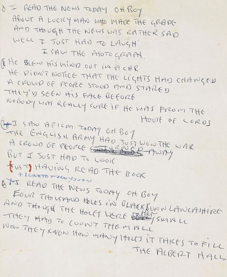 The Tidied Up Lyrics Written In Capital Letters With The Controversial Line I Love To Turn You On Scribbled Beatles Lyrics Beatles Songs John Lennon Lyrics