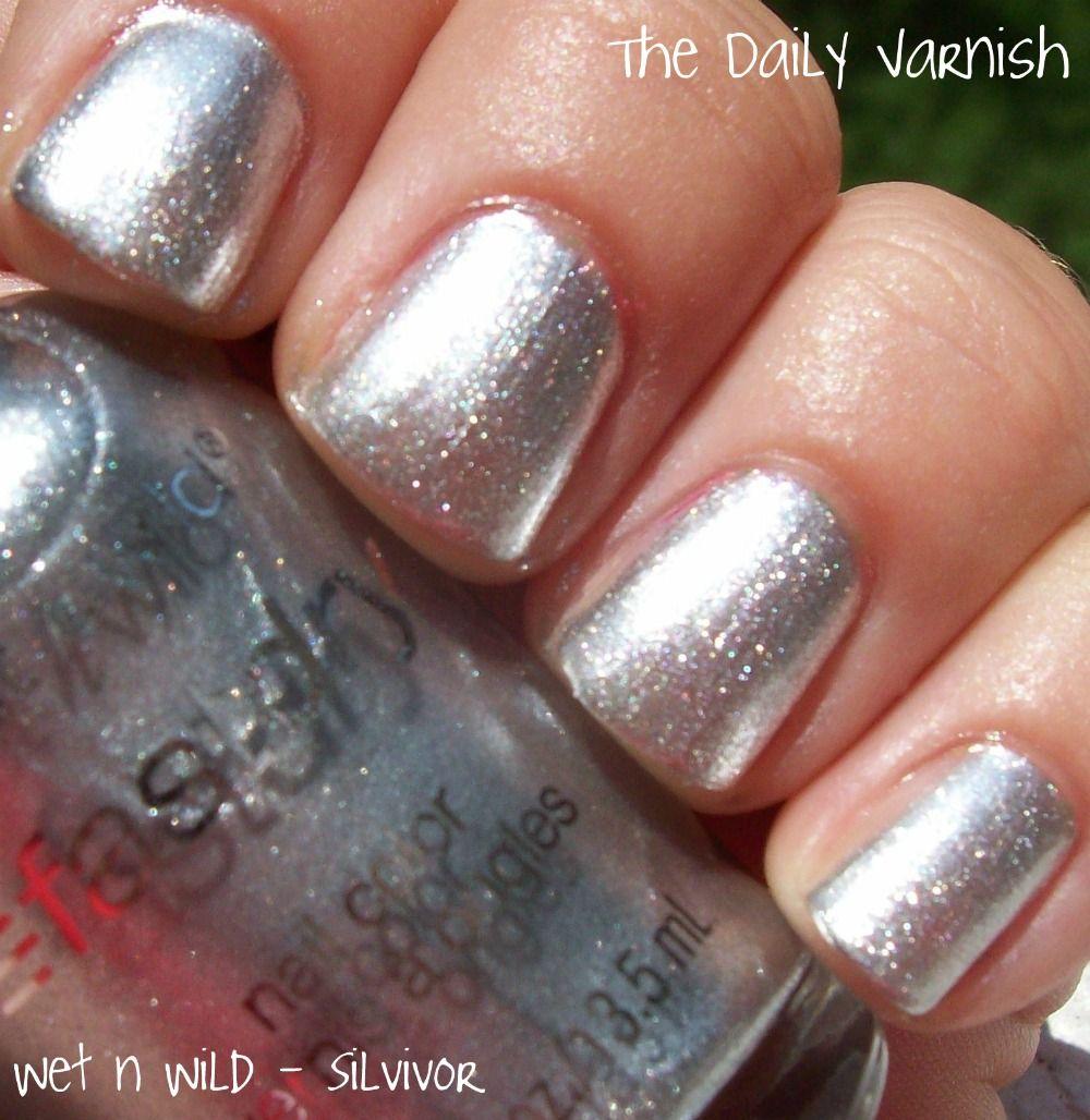 Silvivor A shimmery metallic silver very thin formula 3