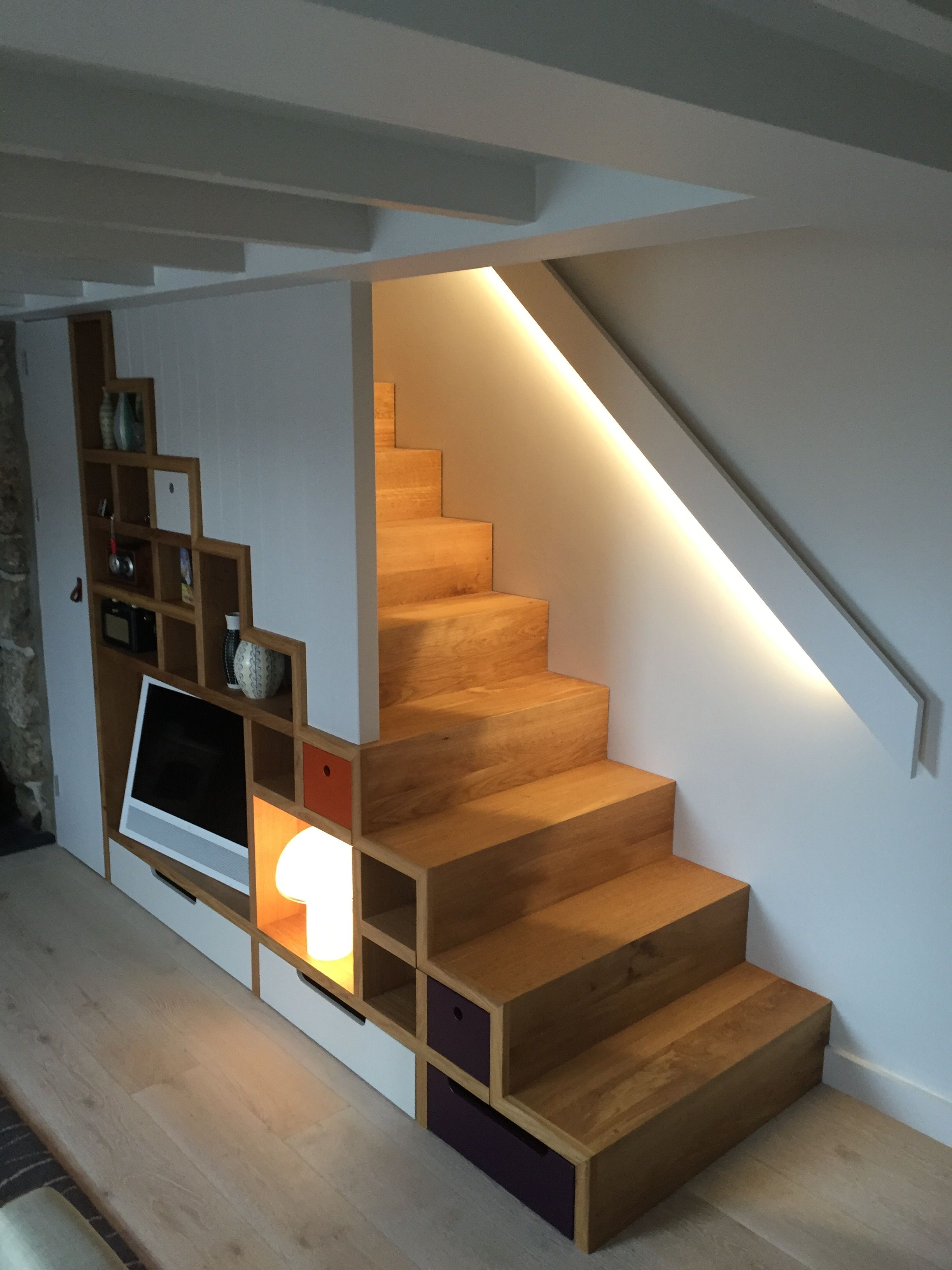 Bespoke Stair With Storage Incorporated By Studio West Architects Oak