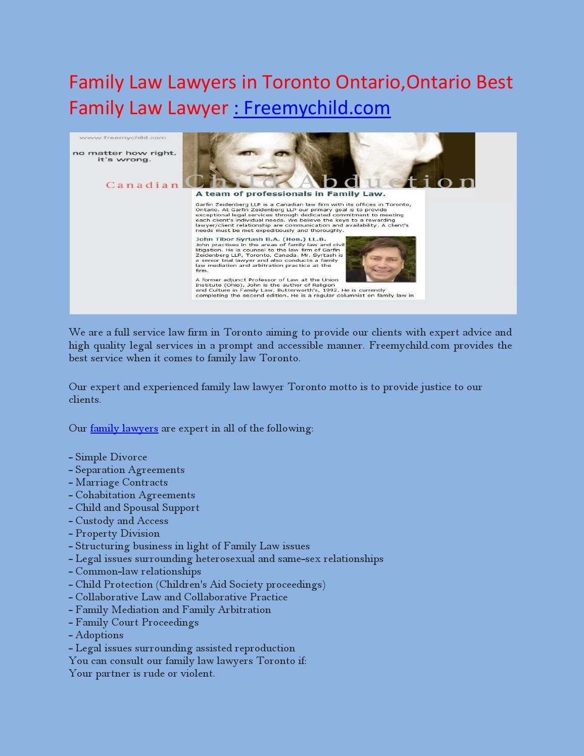 Family Law Lawyers in Toronto Ontario,Ontario Best Family