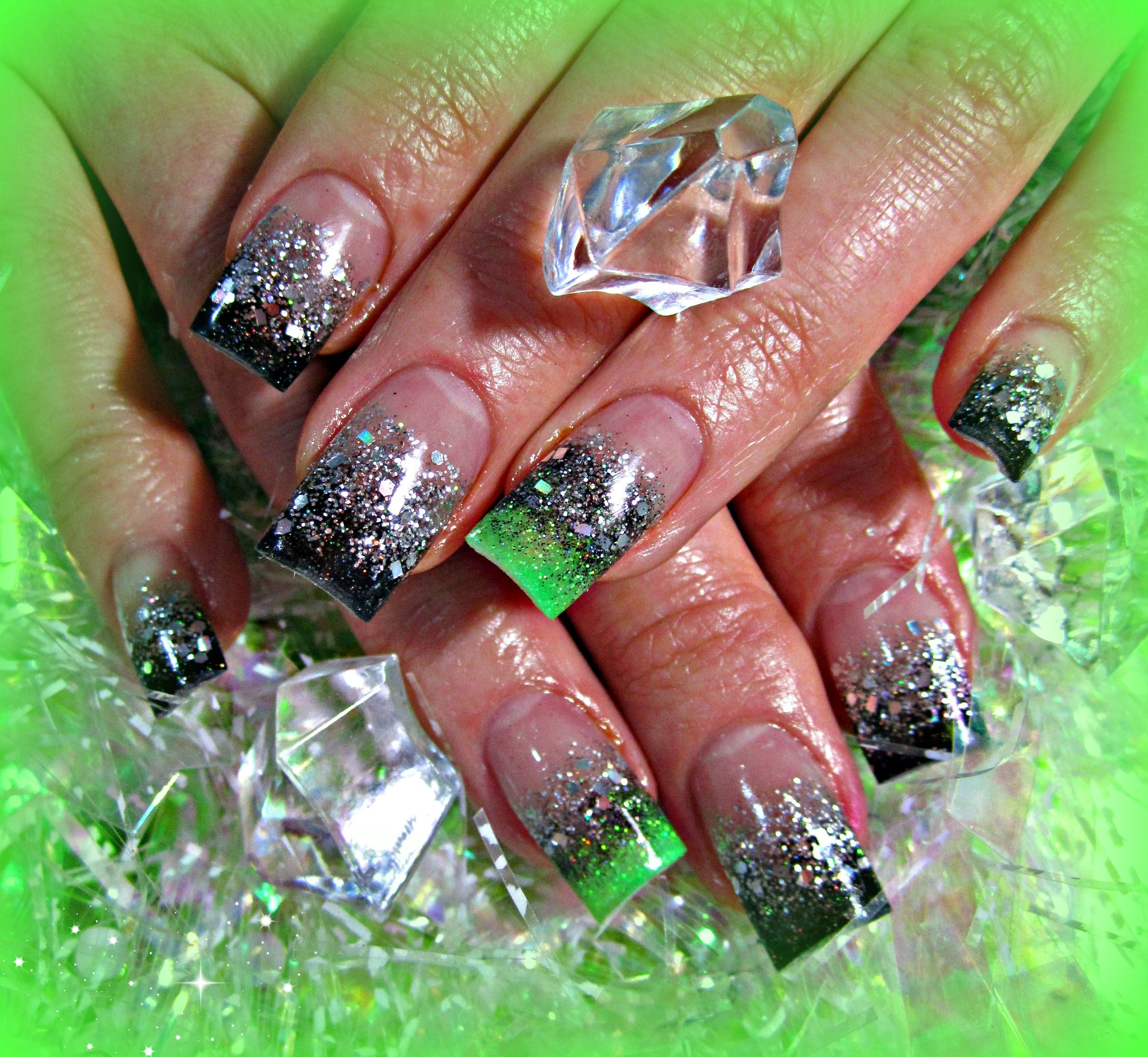 Black, silver, and neon green acrylic nails | Black, Green and Bling ...