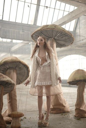 love these mushrooms, make armatures from (make for tea party) but cover with burlap and a silky fabric , not paper mache.