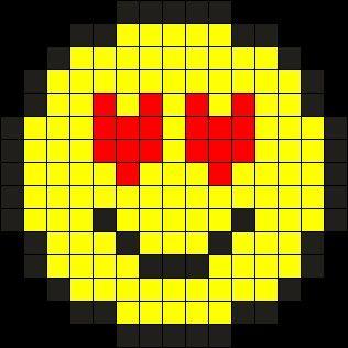 Love Emoji  Perler Beads Emojis  Pinterest  Hoja cuadriculada