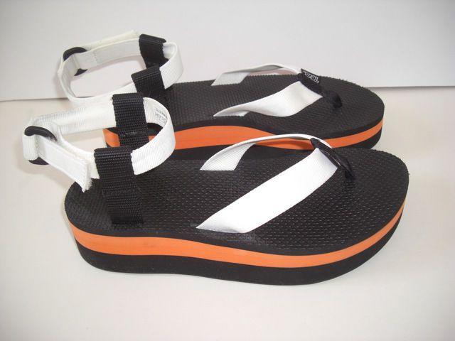 e9488aa7333 TEVA Flatform Womens White Orange Stripe Platform Wedge Sandals 1008843 Sz  8  Teva  SportSandals  Casual