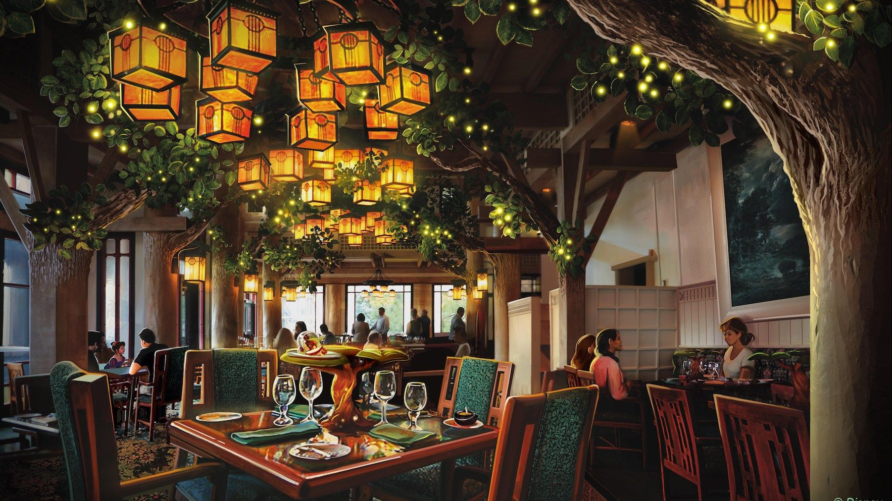 News Artist Point to Storybook Dining character