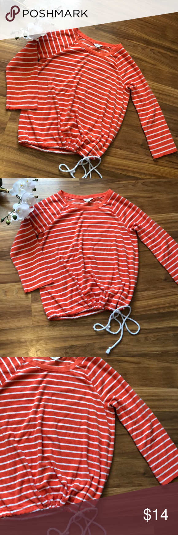 Beachy Coral Bay Terry Striped Pullover Size M Beachy Florida Brand