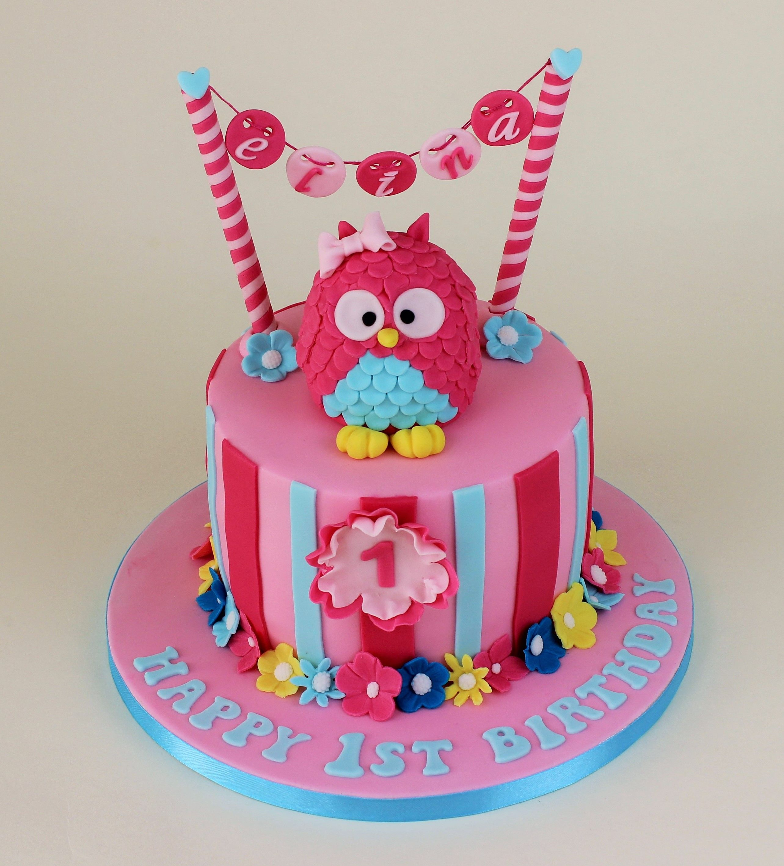 Pink owl cake 1st birthday Pinterest Owl cakes