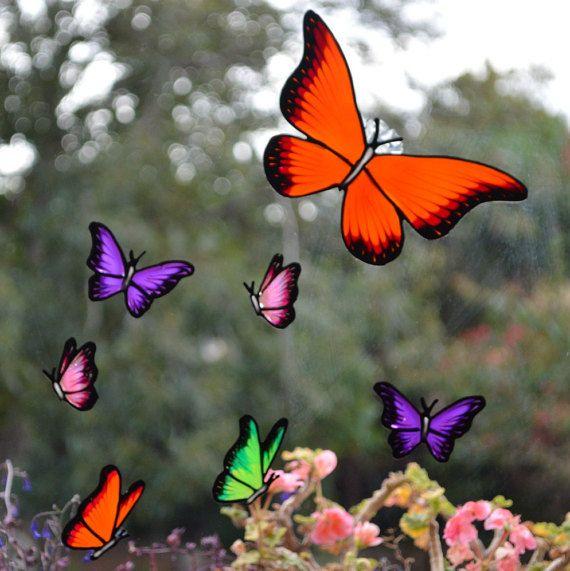 18 Art Deco Butterfly /& 8 Ladybird Window Clings Glass Stickers Butterflies