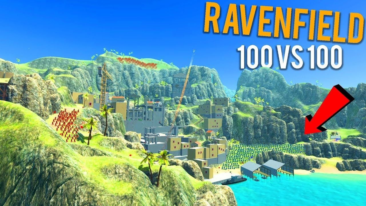10vs100 BATTLE ON COASTLINE! Ravenfield Gameplay! (Giant