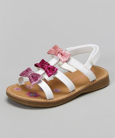 52547d40f8c0c0 Another great find on  zulily! White   Pink Bow Sandal by Laura ...