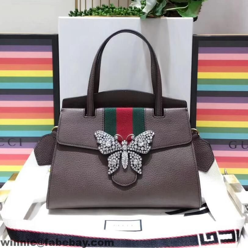 c63f6f29410 Gucci GucciTotem Medium Top Handle Bag With Crystal Butterfly 505342 2018