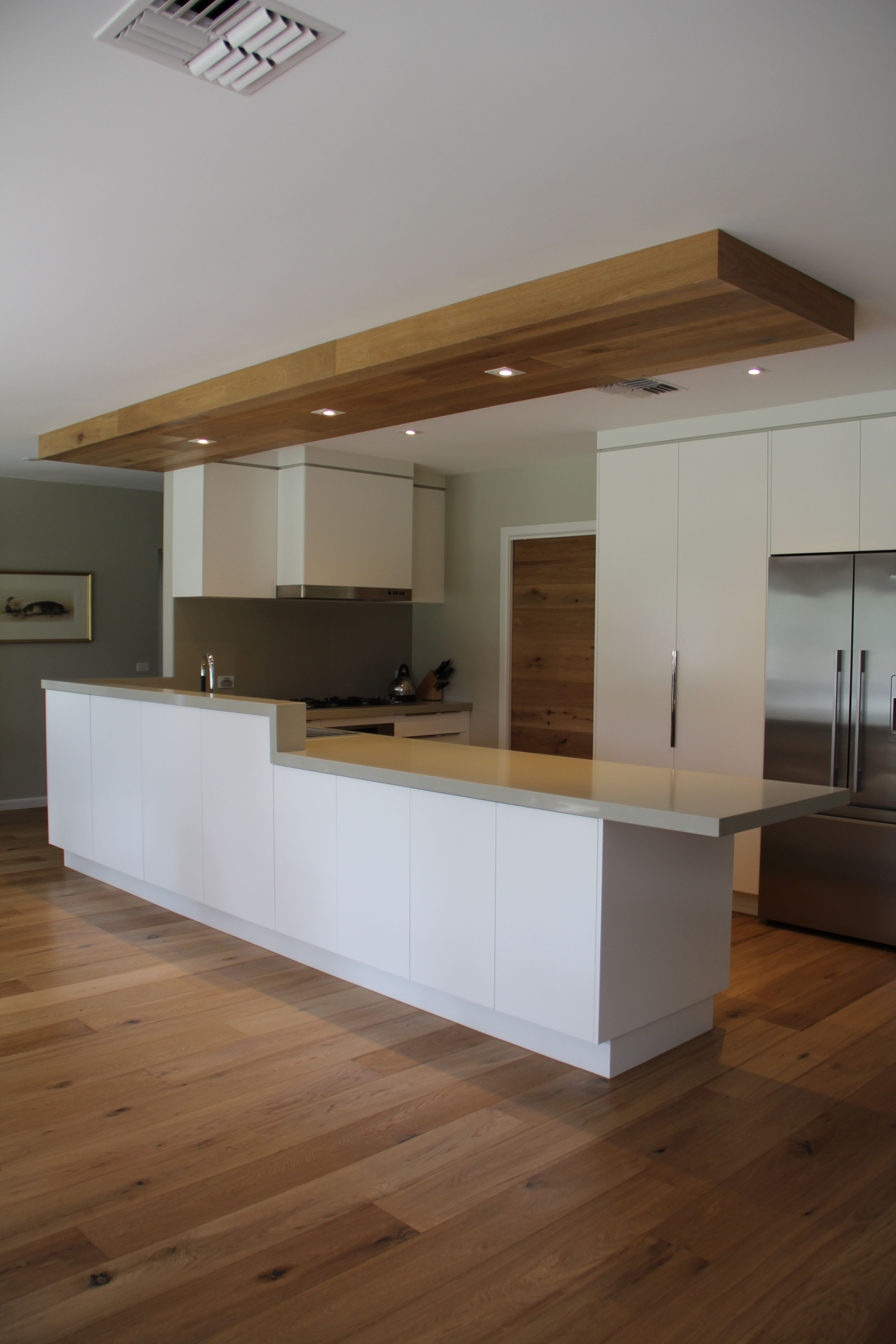 Kitchen Bulkhead Smoked American Oak Has Been Used In This Kitchen On Floors Doors