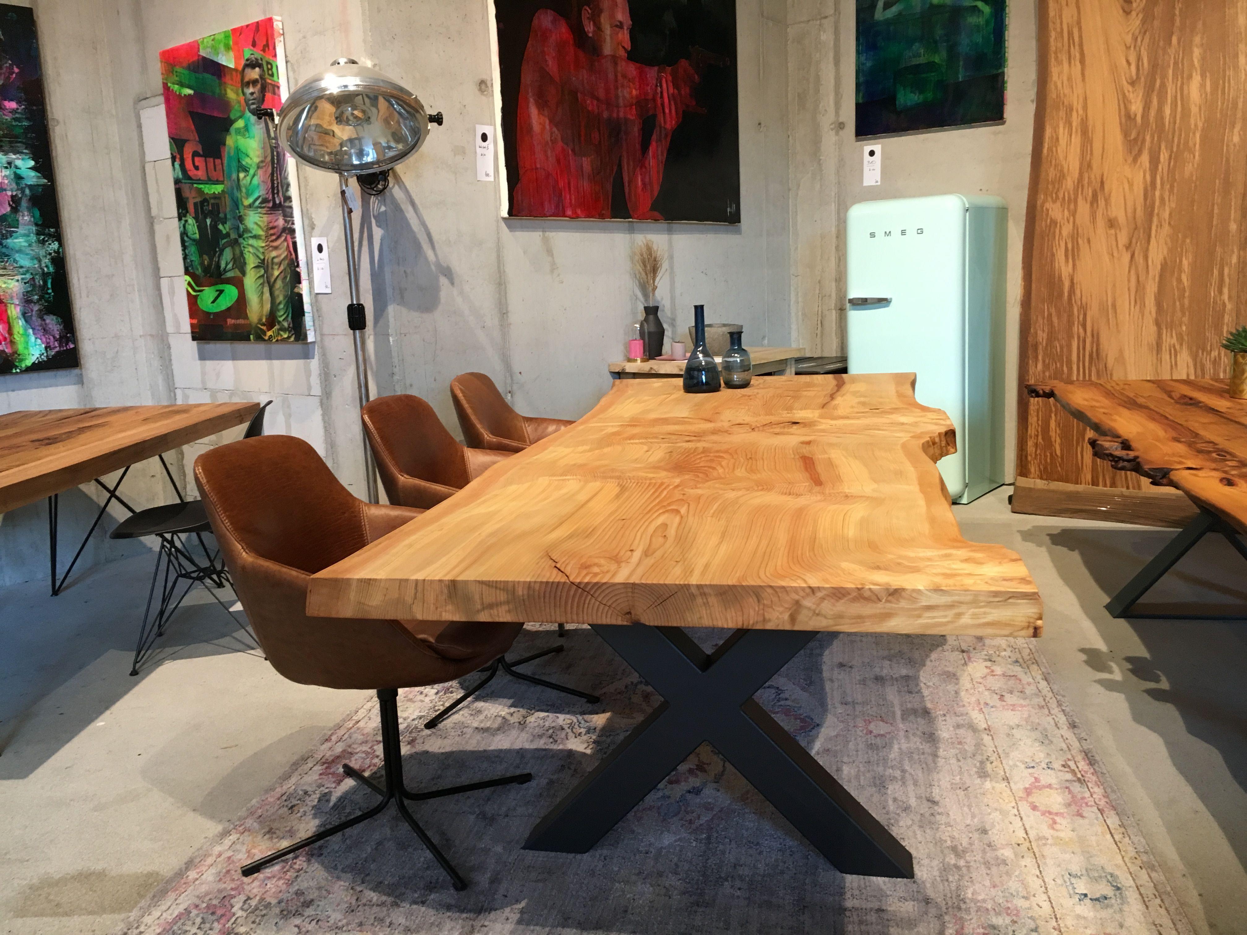 Baumtisch Tisch Aus Einem Stck Stammtisch Baumplatte Table Holzwerk With Esstisch