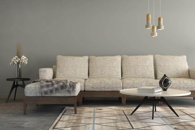 farbige wände modern grau wohnzimmer ecksofa #interiors Wohnen - wohnzimmer modern grau