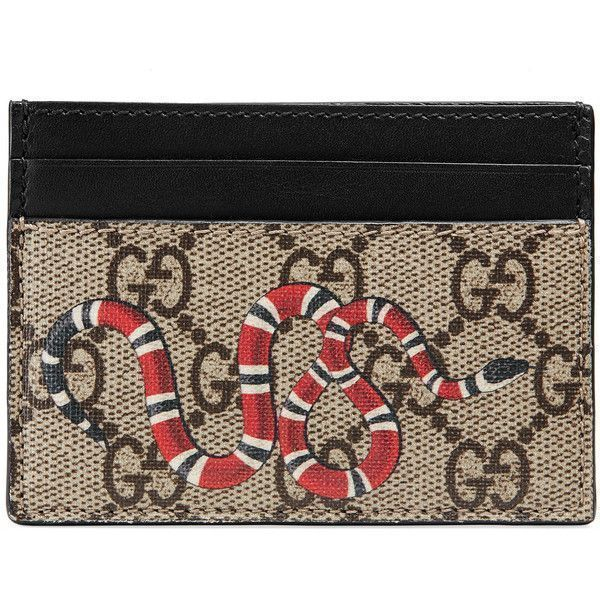 584d07cb851 Gucci Kingsnake Print Gg Supreme Card Case ( 290) ❤ liked on Polyvore  featuring men s