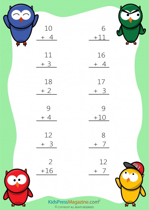Easy Sums – Add to 20 Worksheet - #4   Pinterest   Simple, Math ...