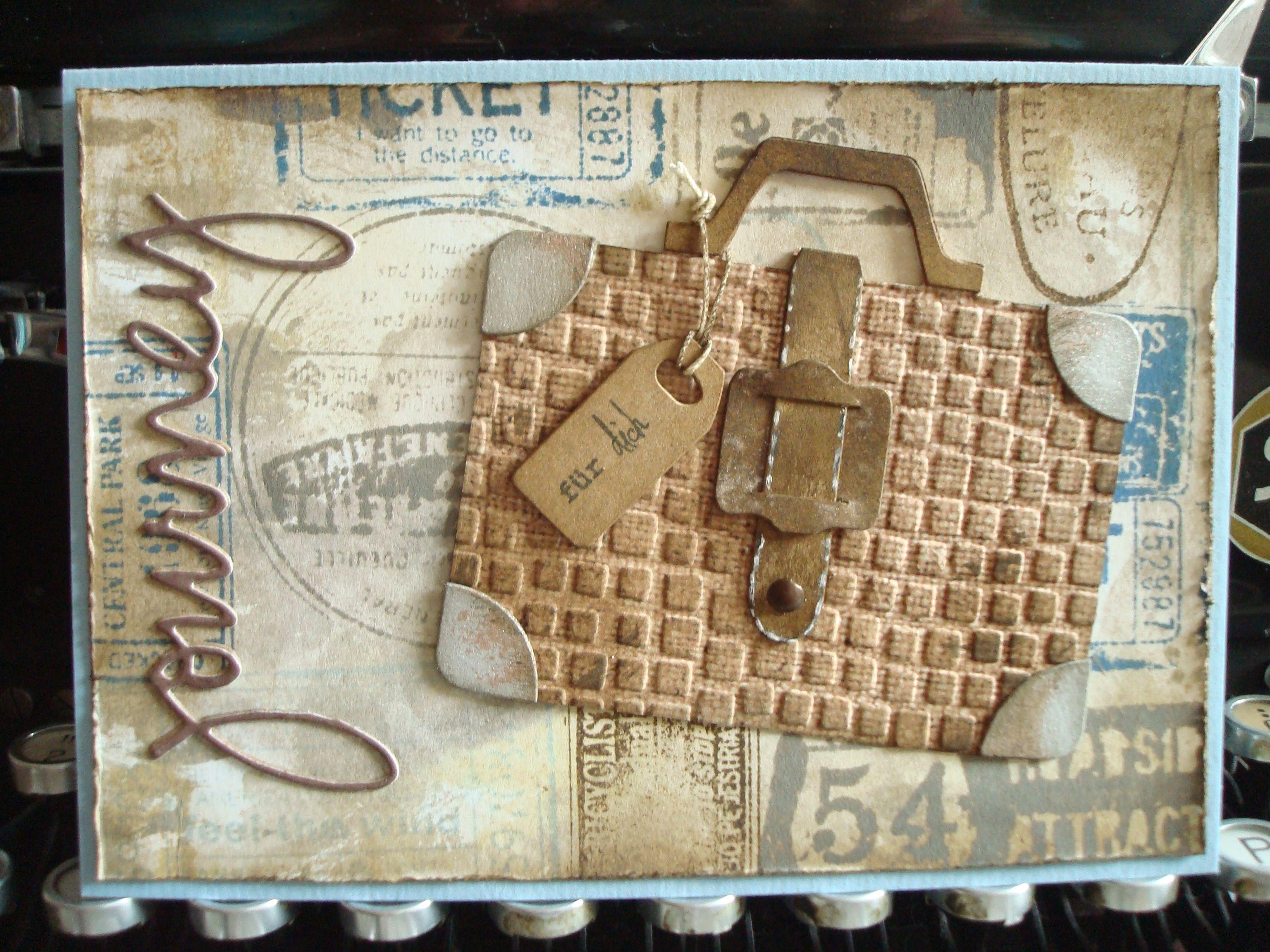 journey card reise karte tim holtz koffer suitcase sizzix