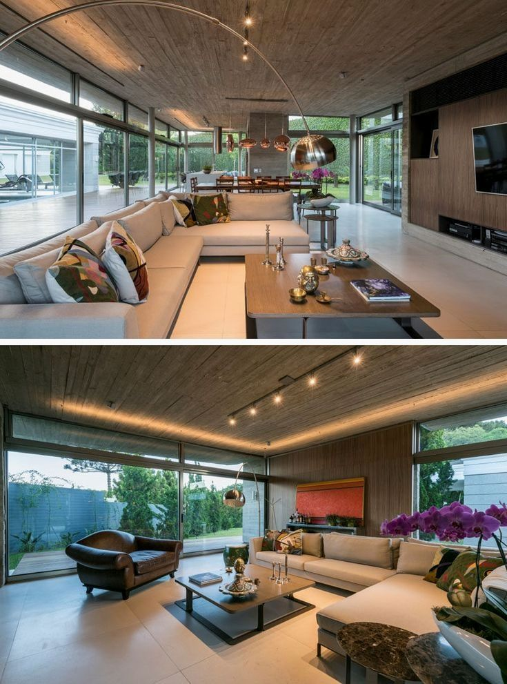 This modern living room features an Italian walnut home