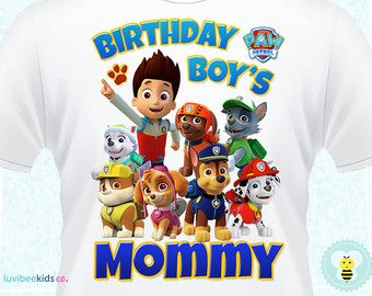 Paw Patrol Mom & Dad of Birthday Boy Transfers by LuvibeeKidsCo