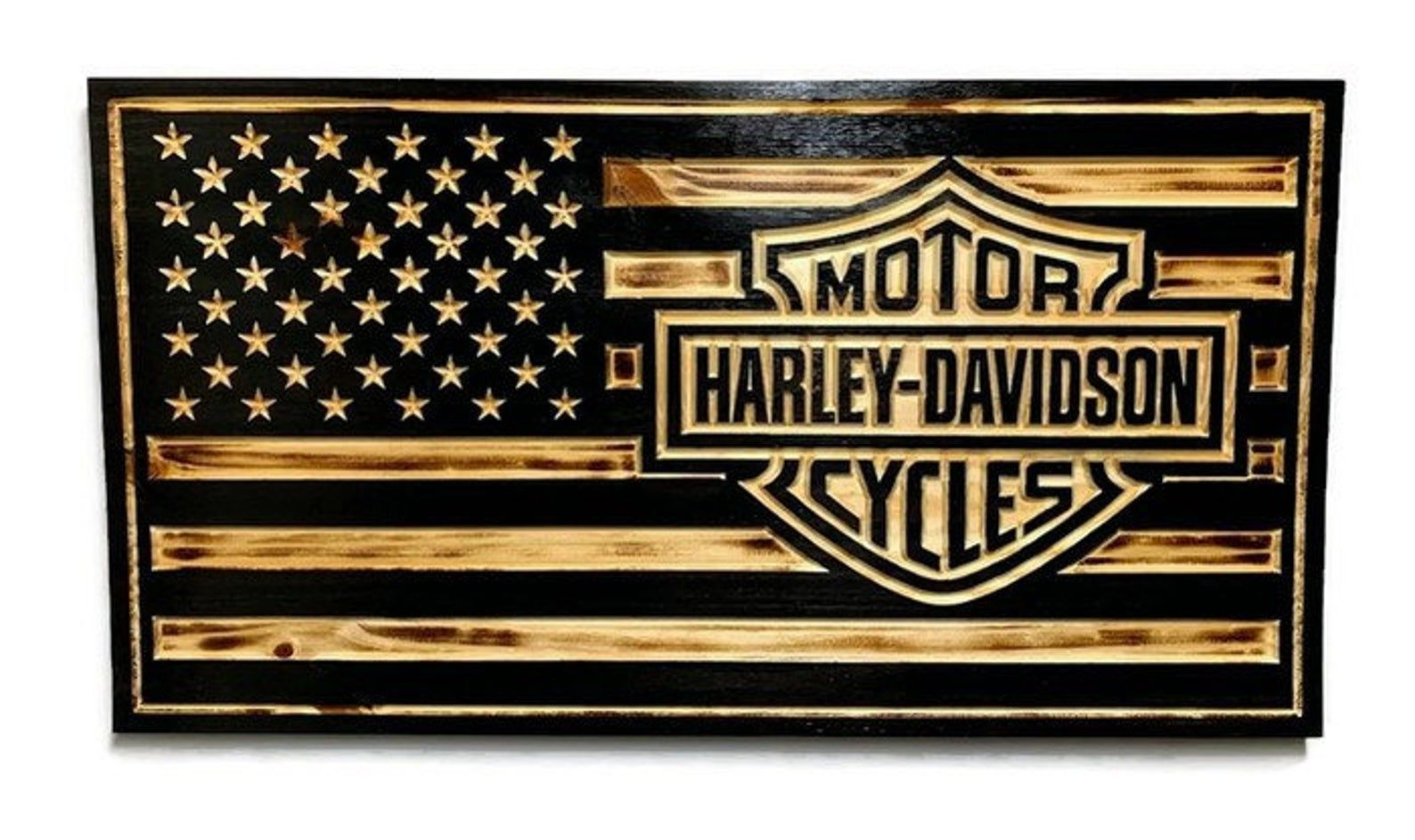 Custom rustic wooden american flag engraved wood sign