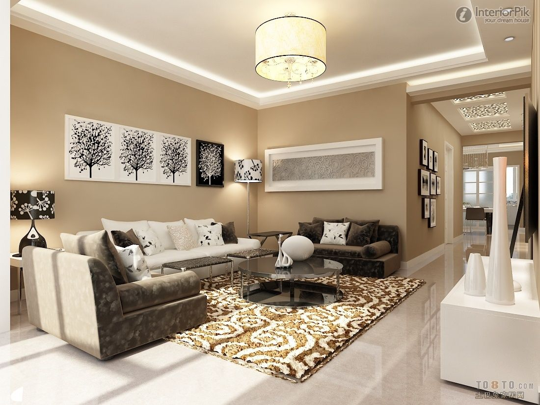 Brown white colour combination contemporary living room for Wall paint combination ideas