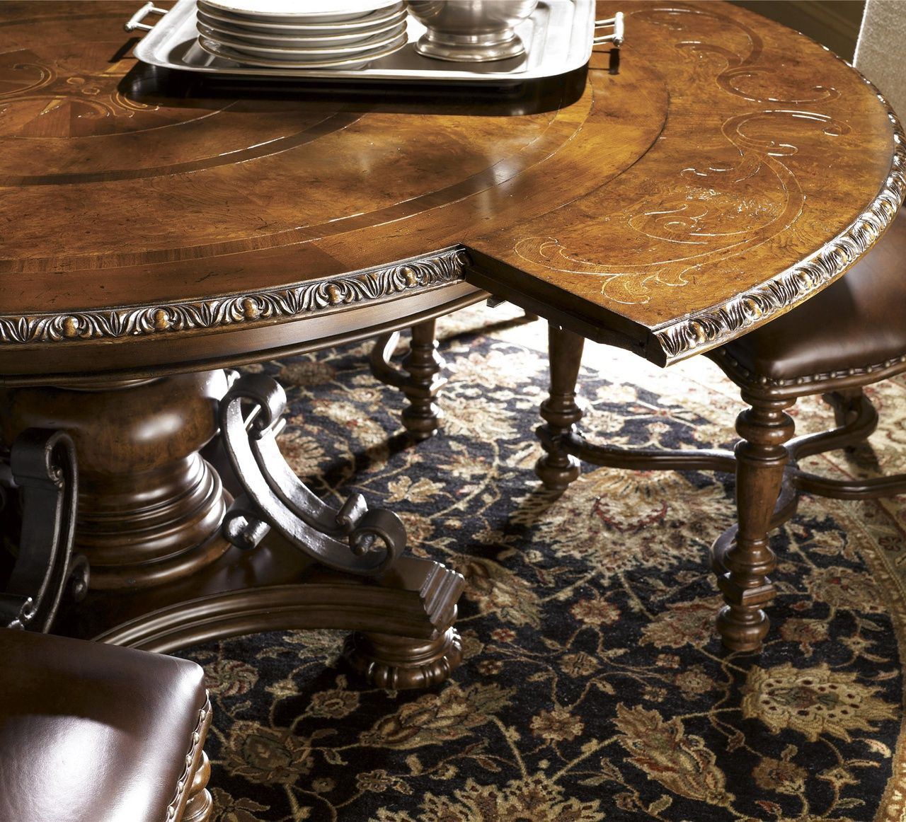 Seville Marquetry Expandable Round Pedestal Dining Table In 2018