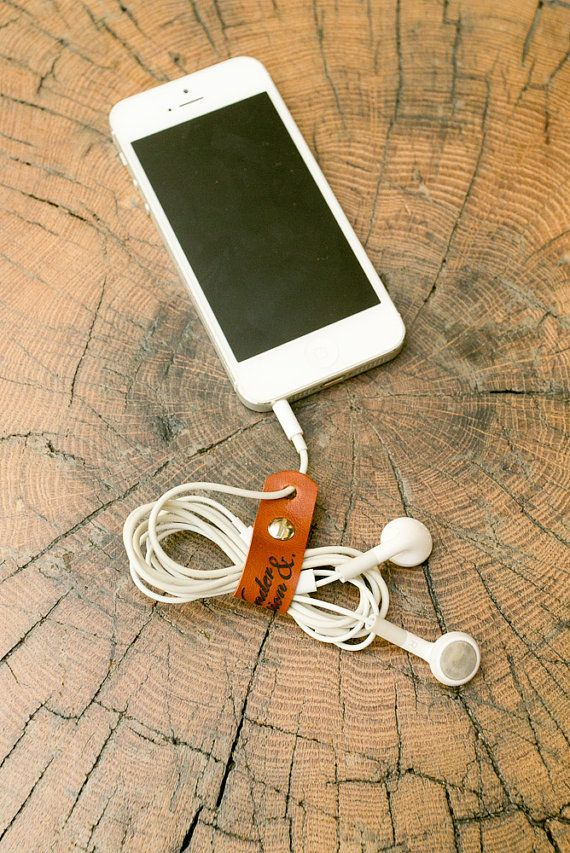 Earphone Halter / Strap / Holder, Earbud, Leather, Solution for tangled earphones, earphone cord organiser made by Wonder and Question