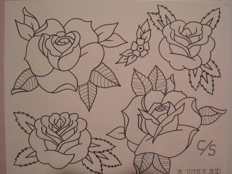 Rose Flash Sheet By Alex Tollar D48l4x1 Jpg 900 675 Pixels Rose Tattoo Stencil Tattoo Stencils Rose Outline Tattoo