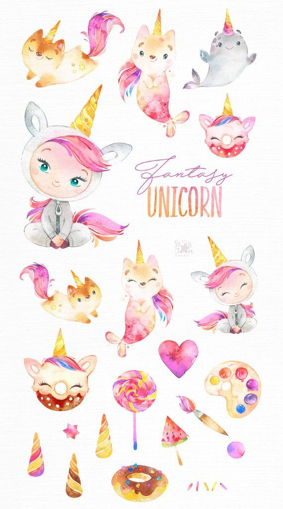 Fantasy Unicorn. Watercolor magic clipart, cat, caticorn, mermaid, narwhal, pink, fairytale, girl, animals, candy, kid, nursery, baby-shower