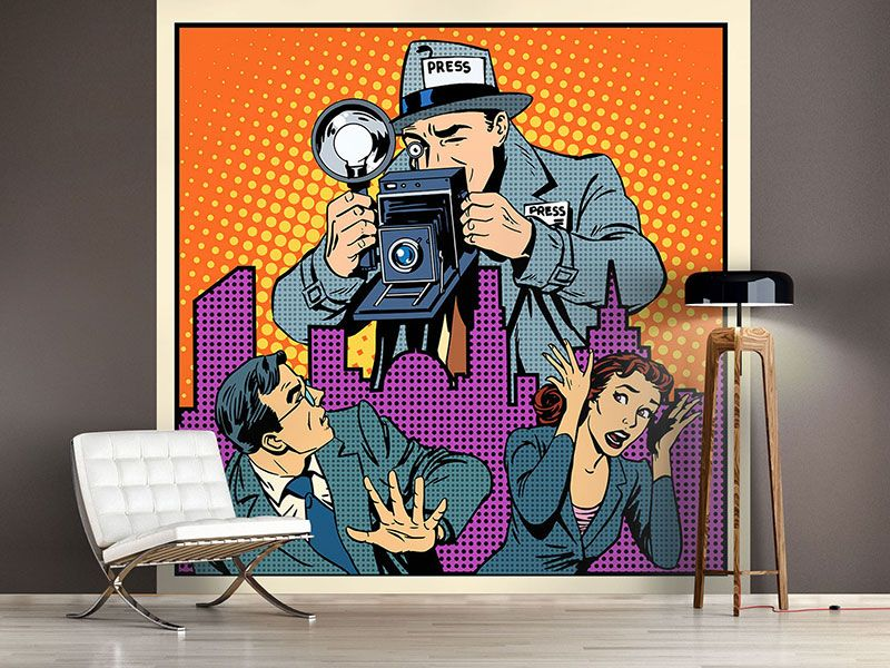 foto tapete pop art paparazzi fototapeten popart comic pinterest. Black Bedroom Furniture Sets. Home Design Ideas