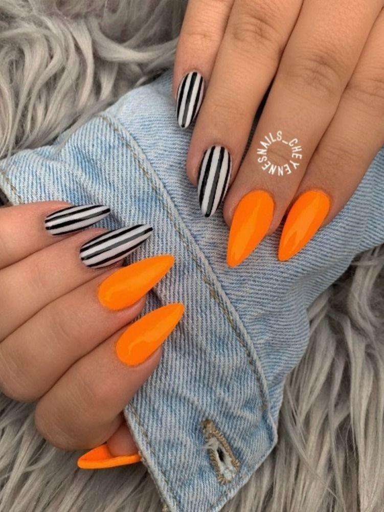 Halloween Ideas Nail Nail French Nail Orange Nail Pink Designs Nail Red Designs Noel Nail Design White Nail Striped Nails Orange Nails Halloween Nails