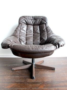 H.W. Klein; Steel And Leather Swivel Lounge Chair For Bramin, 1960s.