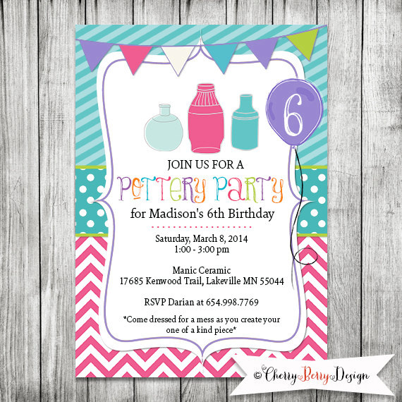 Pottery Party Invite Girls Preteen By CherryBerryDesign 1000
