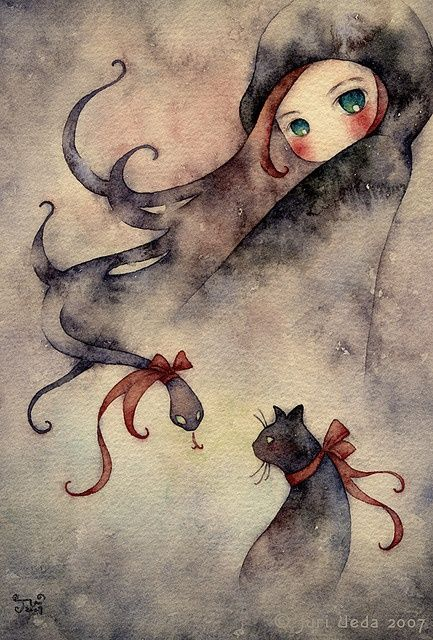 """Anne by Juri Ueda (juriu, Osaka, Japan): """"She has green eyes and some evil thoughts... tiny watercolor doodle."""" {traditional watercolor, 2007}"""