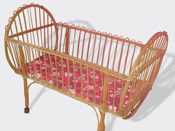French baby bed rattan round vintage c e c e s r o o m