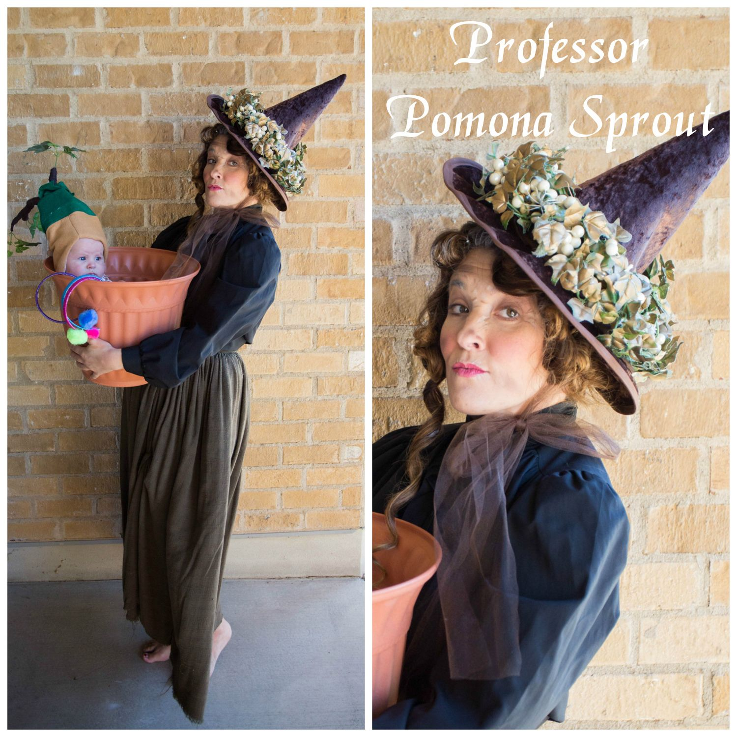 Harry Potter Costume Ideas Delicious Reads Professor Sprout And Mandrake Costume Harry Potter Costume Diy Harry Potter Costume Baby Harry Potter Costume