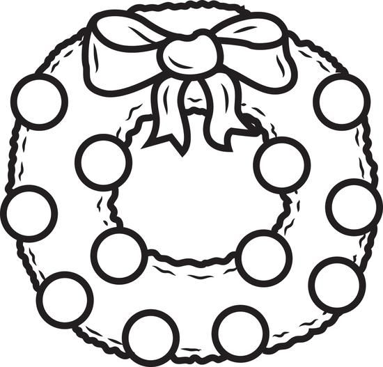 FREE Printable Christmas Wreath Coloring Page for Kids | Simple ...