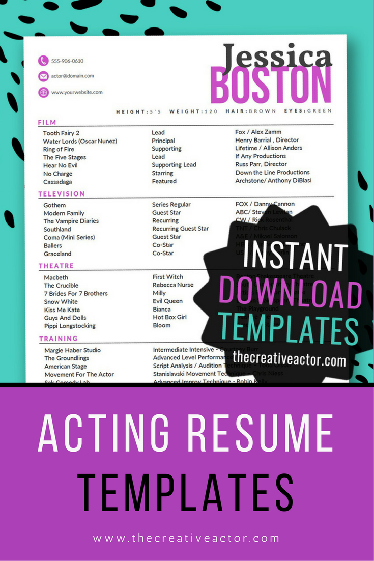 X Actor Resume Templates  Instant Download Acting Resume