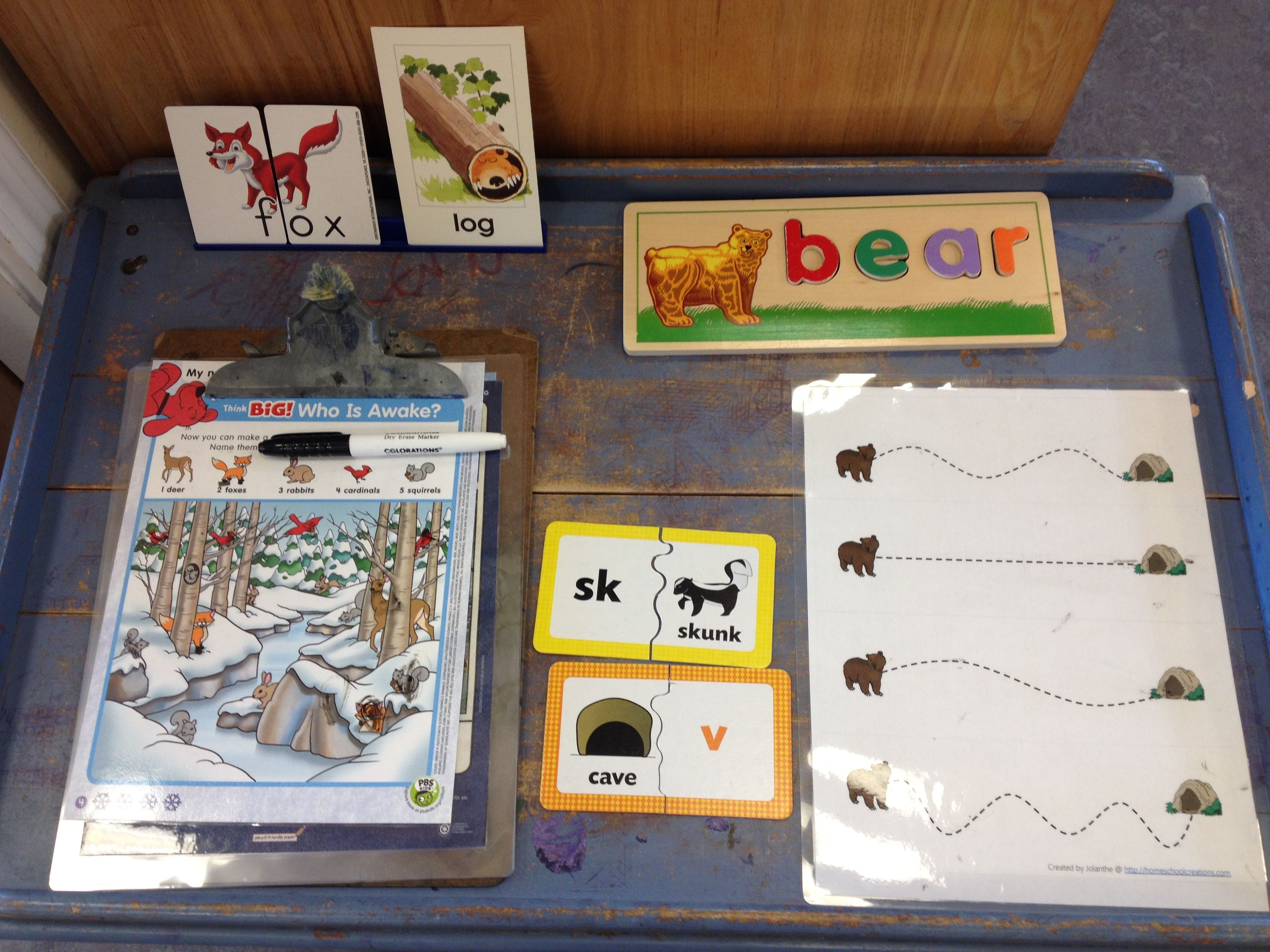 Hibernation Literacy Table