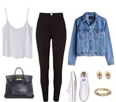This outfit yes please! Denim jacket, white tank, black leggings, white converse. Need a pair of thick leggings I can wear as pants that aren't see through! Get a pair for only $13.99 on Amazon to create the same look.