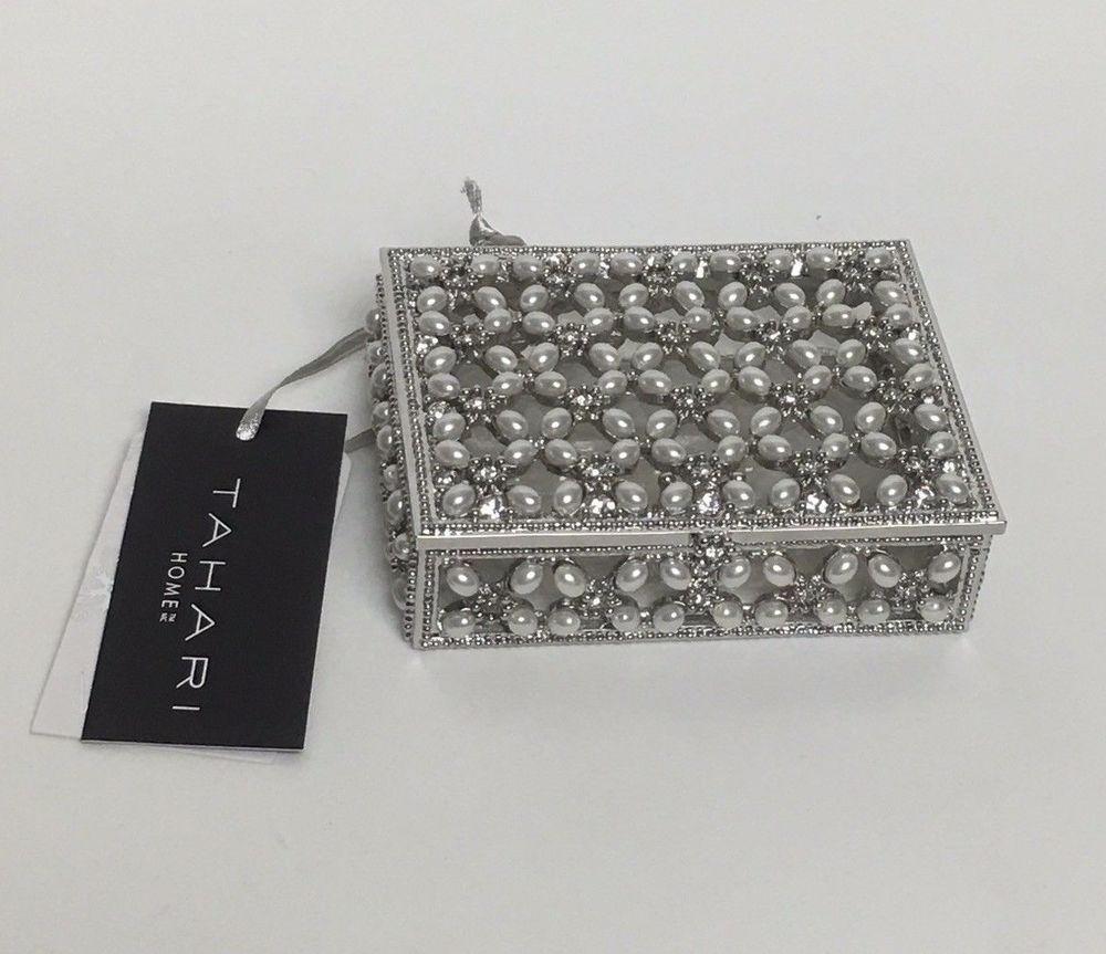 TAHARI Home Small Rectangular Trinket Jewelry Box Silver Metal Pearl