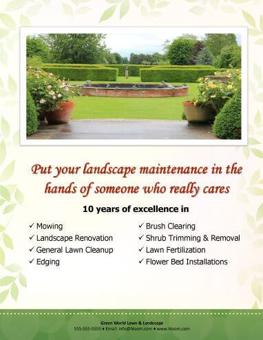 service bulletpoints landscaping flyer template