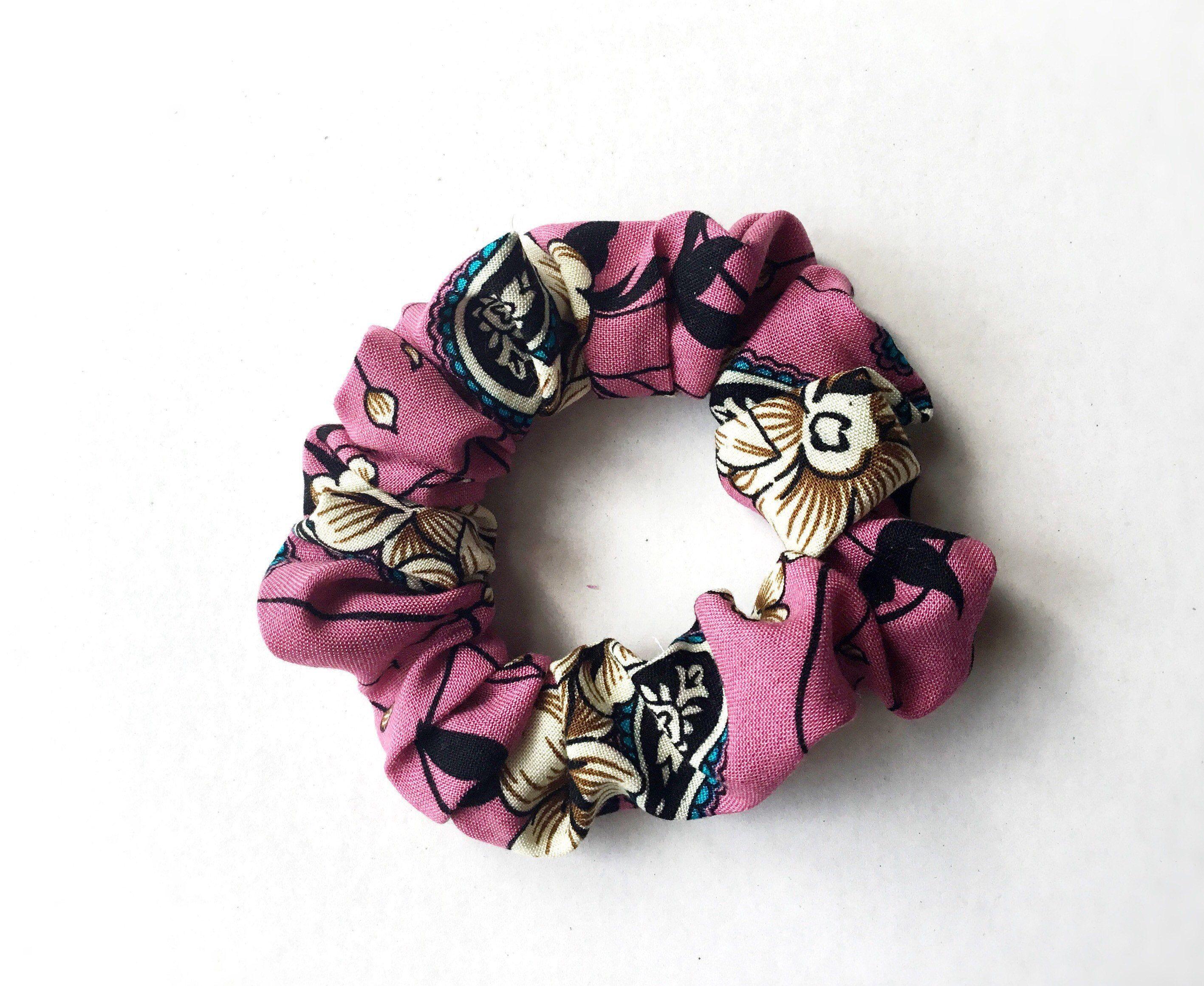 Made in U.K Good Quality Colourful Design Fabric Hair Scrunchie