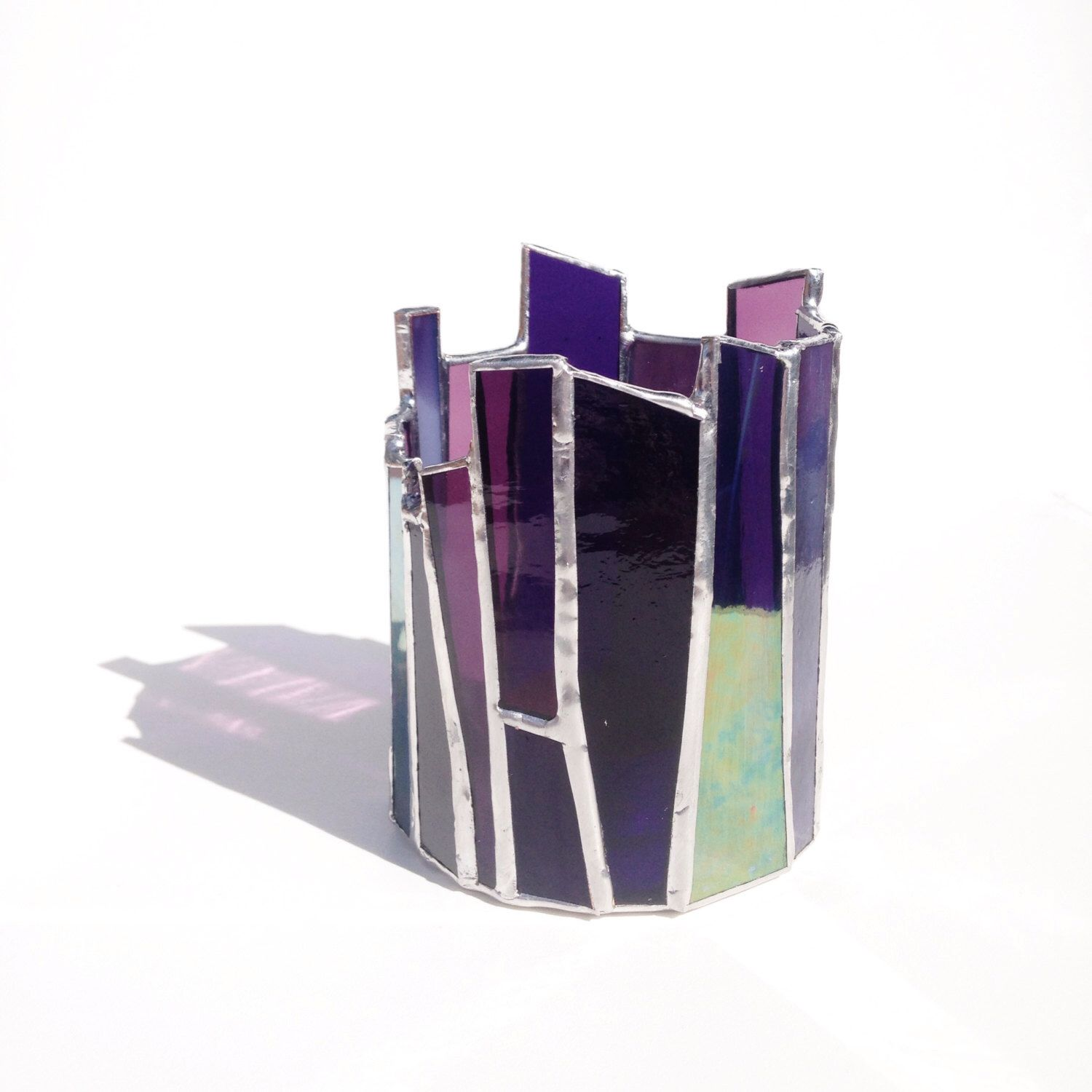 Purple Stained Glass Candle Holder Votive Light