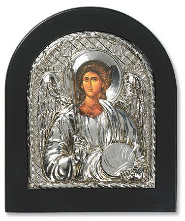 Patron Wall Hanging Silver Saint St Michael Dome Icon Plaque Picture Italy Greek by Needzo Religious Gifts, http://www.amazon.com/dp/B006C1I2ZQ/ref=cm_sw_r_pi_dp_YIUdqb17D5R0Y