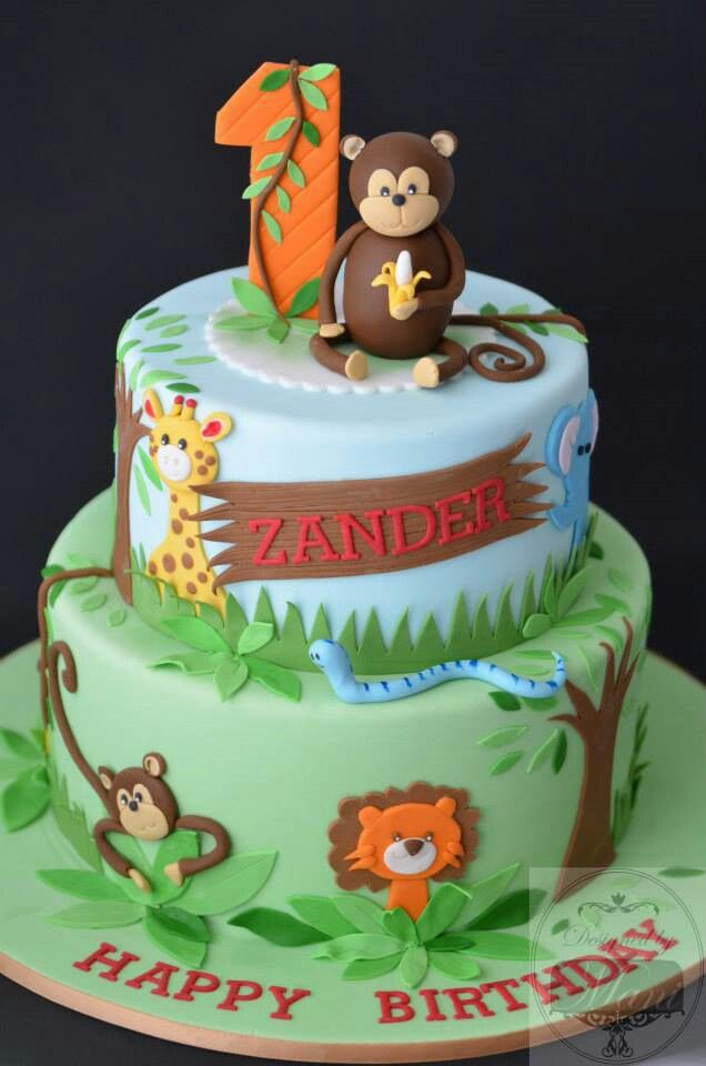 Stupendous Jungle With Images Jungle Birthday Cakes Animal Birthday Funny Birthday Cards Online Chimdamsfinfo