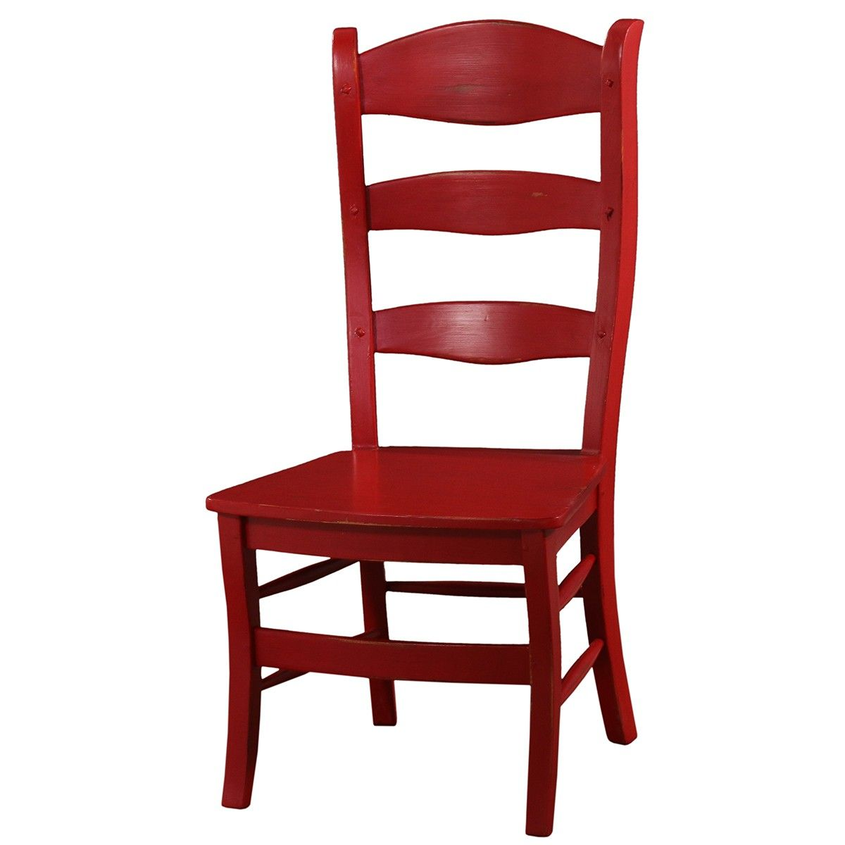 Peg & Dowel Ladder Back with Wooden Seat - Red Distressed