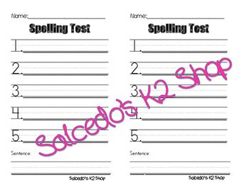 spelling test templates teacher pay teachers word sentences and