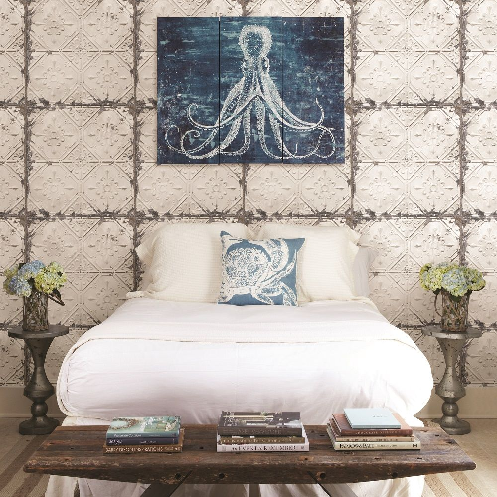 A street prints tin tile beigecopper wallpaper industrial h white tin ceiling distressed tiles wallpaper the home depot dailygadgetfo Images